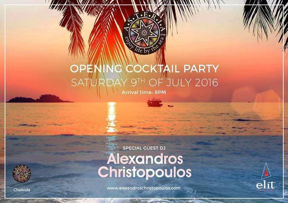 Το πολύ αναμενόμενο Opening στην ιστορική παραλία της πόλης είναι γεγονός! H ASTERIA Plaz εγκαινιάζει το καλοκαίρι μ'ένα μεγάλο Opening Party τo Σάββατο 9 Ιουλίου στις 8 το βράδυ. Special Guest DJ Alexandros Christopoulos [OFFICIAL] Enjoy Signature cockt Plaz Asteria - Παραλία Χαλκίδας